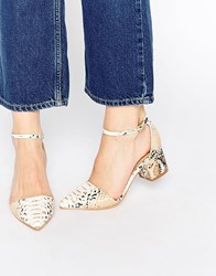 Truffle Collection Molly Ankle Strap Point Mid Heeled Shoes White