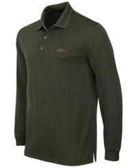 Greg Norman For Tasso Elba Men's Big And Tall Long Sleeve Striped Polo Only At Macy's Ultra Olive