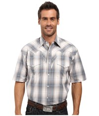 Stetson Stormy Plaid Snap Front Short Sleeve Shirt Grey Men's Clothing Gray