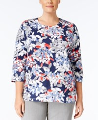 Alfred Dunner Plus Size Uptown Girl Collection Leaf Print Top Multi