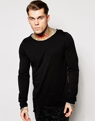 Asos Longline Long Sleeve T Shirt With Distressed Hem And Raw Edge Boat Neck Black