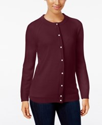 Karen Scott Crew Neck Cardigan Only At Macy's Merlot