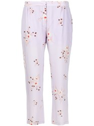 Nina Ricci Floral Print Cropped Trousers Pink And Purple