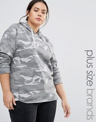 Missguided Plus Camo Hoodie Grey