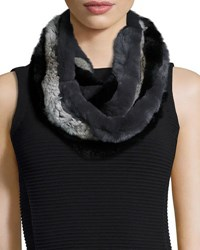 Love Token Rabbit Fur Infinity Scarf Black