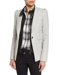 Veronica Beard Bodega Single Button Herringbone Blazer Light Gray Light Grey