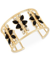 Inc International Concepts Gold Tone Jet Stone Openwork Cuff Bangle Only At Macy's