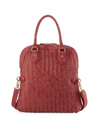 Neiman Marcus Distressed Woven Fold Over Satchel Bag Rose Pink