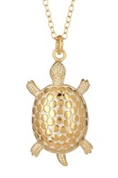 Anna Beck 18K Gold Plated Sterling Silver Large Turtle Necklace Metallic