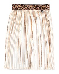 Molo Pleated Contrast Trim Metallic Skirt Gold