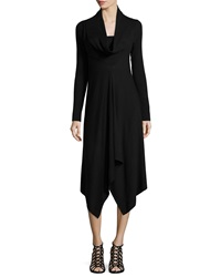 Neiman Marcus Cowl Neck Long Sleeve Midi Dress Black