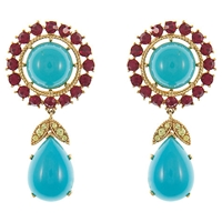 Eclectica Vintage 1960S Trifari Gold Plated Faux Ruby Clip On Earrings Turquoise