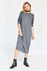 Silence And Noise Mason Midi Sweatshirt Dress Slate