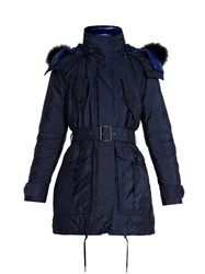 Burberry Chevrington Fur Trimmed Hooded Coat Navy
