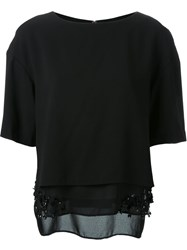Muveil Embellished Hem Layered Top Black