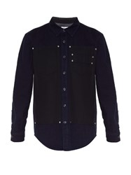 Givenchy Stud Embellished Bi Colour Denim Shirt Navy