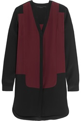 Karl Lagerfeld Hannah Lace Trimmed Silk Crepe Blouse Red