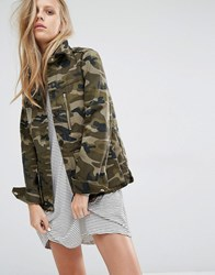 Pull And Bear Pullandbear Camo Utility Jacket Khaki Green