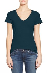 James Perse Women's Slub Cotton V Neck Tee Deep