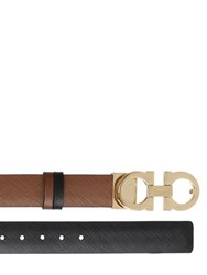 Salvatore Ferragamo 25Mm Gancino Reversible Leather Belt
