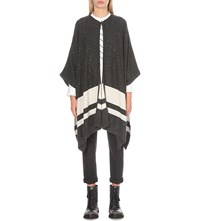Brunello Cucinelli Sequin Embellished Cashmere And Silk Blend Poncho Charcoalvanilla