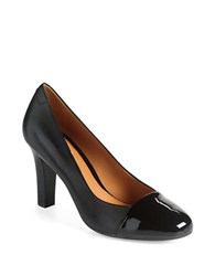 Geox Marian Cap Toe Leather Pumps Black Leather