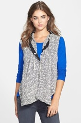Vince Camuto Hooded Asymmetrical Vest Black