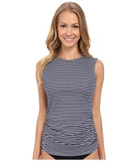Carve Designs Suncatcher Rashguard Anchor Stripe Women's Swimwear Gray
