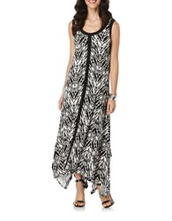 Rafaella Printed Handkerchief Hem Maxi Dress Black