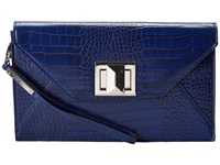 Bcbgmaxazria Mattie Faux Croco Leather Clutch W Icon Turnlock Cobalt Cobalt Academy Clutch Handbags Blue