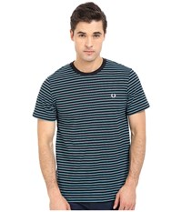 Fred Perry Double Stripe T Shirt Navy Men's Short Sleeve Pullover
