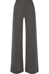 Adam By Adam Lippes Melange Stretch Wool Wide Leg Pants Gray