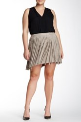 Bb Dakota Ardis Faux Suede Fringe Skirt Plus Size Brown