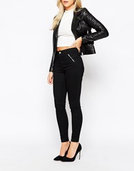 Oasis High Waisted Jean With Zip Pocket Black