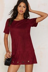 Nasty Gal Roll With The Punches Vegan Suede Tee Dress