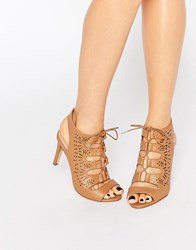 New Look Wide Fit Lazer Cut Lace Up Heeled Sandal Tan