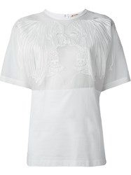 No21 Mesh Panel Portait Blouse White