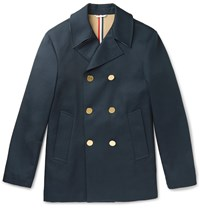 Thom Browne Slim Fit Cotton Gabardine Peacoat Navy