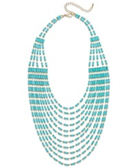 Bar Iii Gold Tone Mint Bead Multi Row Statement Necklace