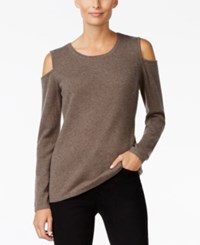 Charter Club Cashmere Cold Shoulder Sweater Only At Macy's Heather Mocha
