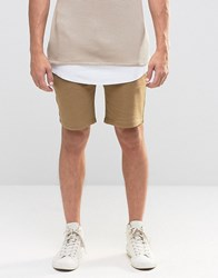 Asos Jersey Shorts In Sand Ermine Green