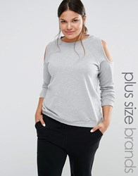 Pink Clove Cold Shoulder Sweatshirt Grey