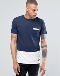 Solid Tailored And Originals T Shirt With Contrast Hem Navy