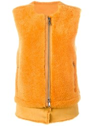 Giorgio Brato Zip Up Gilet Yellow And Orange