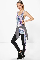 Boohoo Marble Side Panel Full Length Running Legging Multi