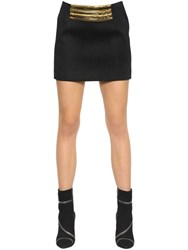 Balmain Embellished Cotton Blend Jersey Skirt