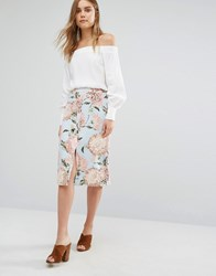 Warehouse Pom Pom Floral Print Skirt Multi