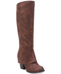 Fergalicious Lundry Wide Calf Cuffed Tall Boots Women's Shoes Cognac