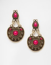 Asos Western Earrings Fuschia Blue