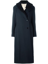 Christophe Lemaire Dislocated Buttons Belted Coat Blue